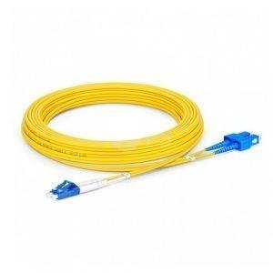 FS 3m (10ft) LC UPC to SC UPC Duplex OS2 Single Mode PVC (OFNR) 2.0mm Fiber Optic Patch Cable